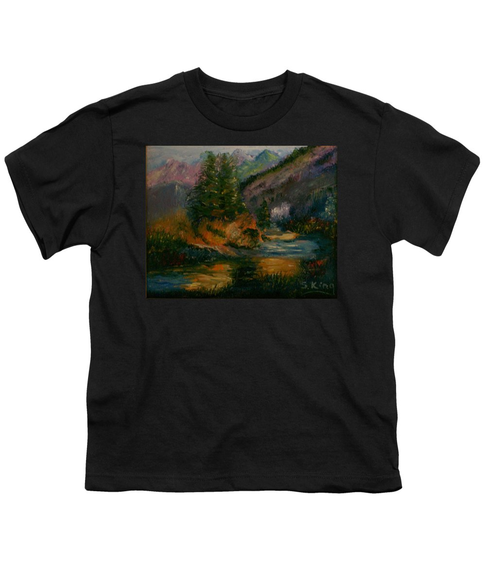 Landscape Youth T-Shirt featuring the painting Wilderness Stream by Stephen King