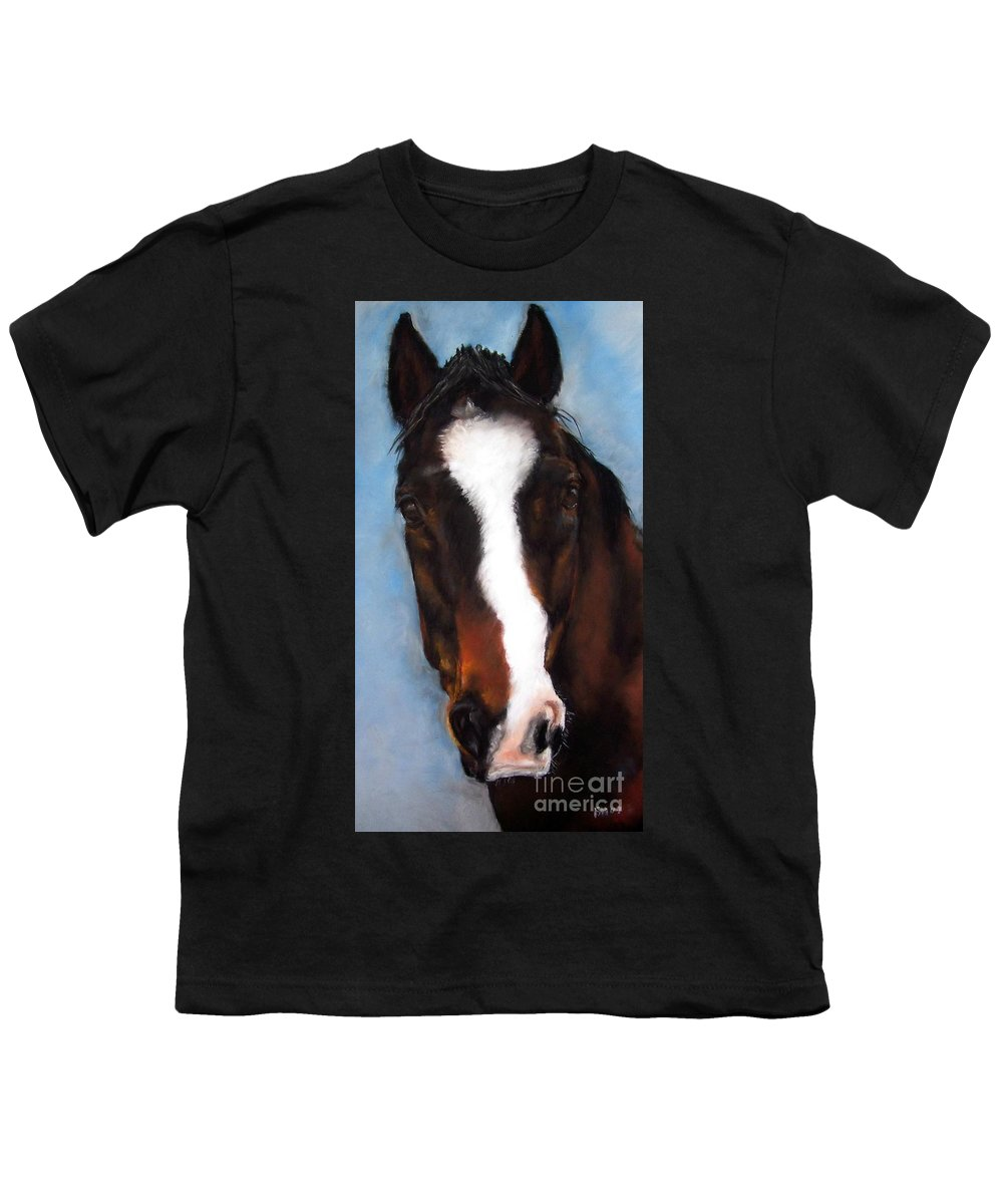 Horse Painting Youth T-Shirt featuring the painting Willie Duke by Frances Marino