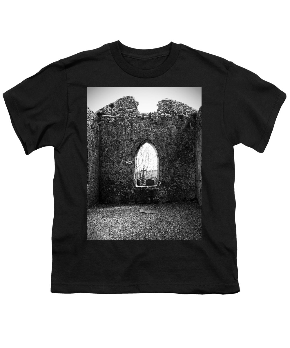 Ireland Youth T-Shirt featuring the photograph Window At Fuerty Church Roscommon Ireland by Teresa Mucha