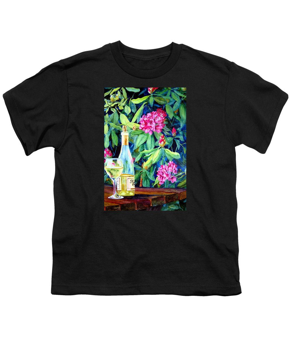 Rhododendron Youth T-Shirt featuring the painting Wine And Rhodies by Karen Stark