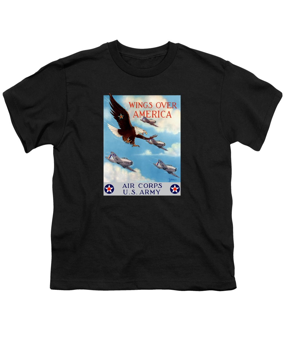 Eagle Youth T-Shirt featuring the painting Wings Over America - Air Corps U.s. Army by War Is Hell Store
