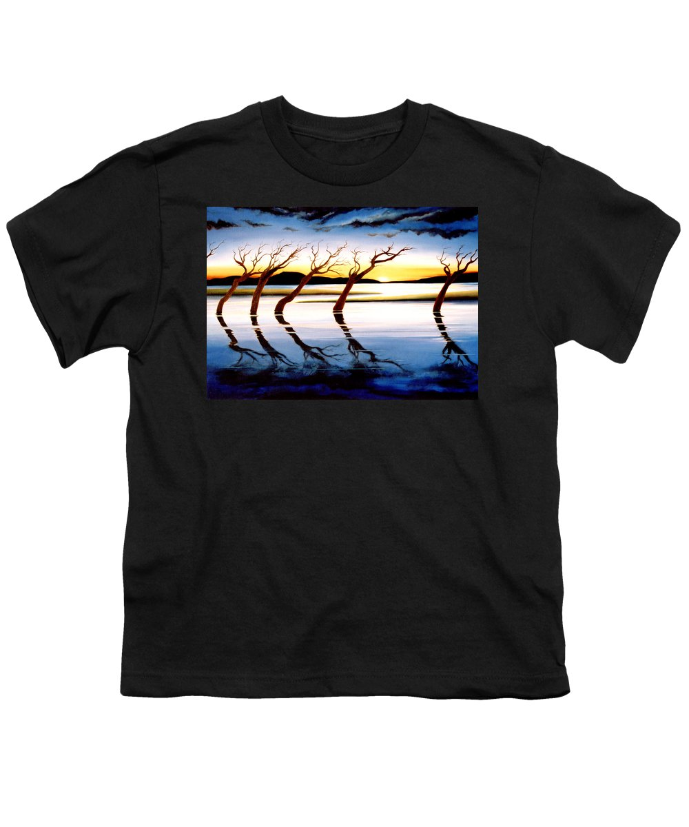 Seascape Youth T-Shirt featuring the painting Winter Heatwave by Mark Cawood