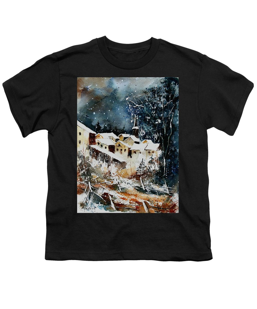 Winter Youth T-Shirt featuring the painting Winter In Vivy by Pol Ledent