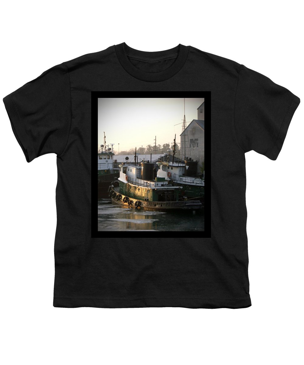 Tugs Youth T-Shirt featuring the photograph Winter Tugs by Tim Nyberg