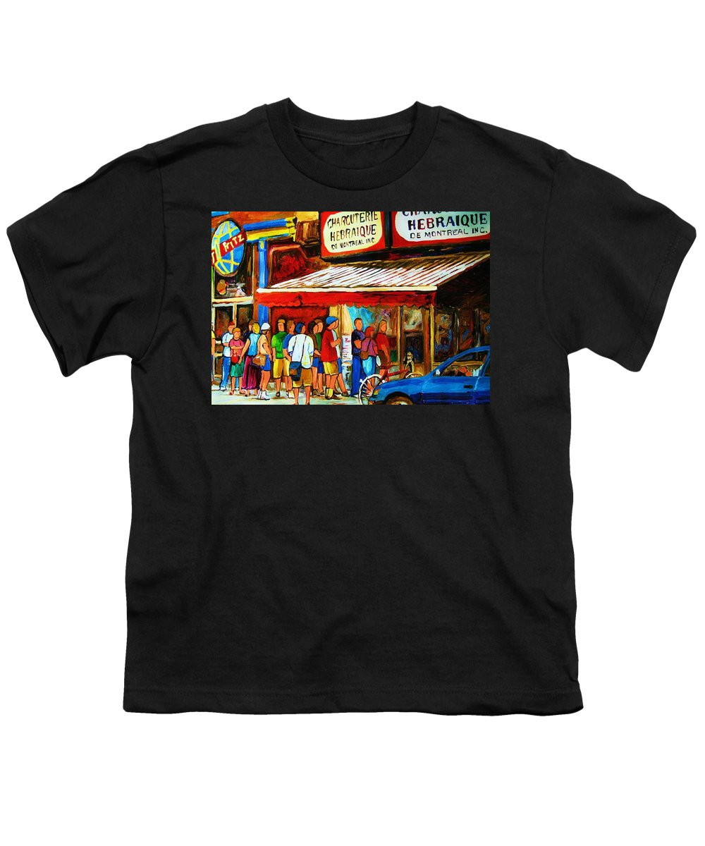 Montreal Streetscenes Youth T-Shirt featuring the painting Worth The Wait by Carole Spandau