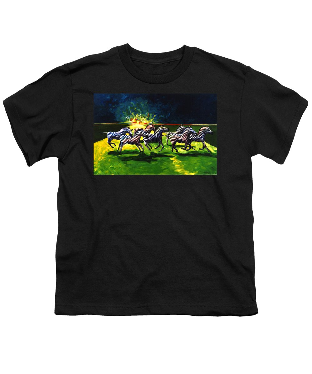 Modern Youth T-Shirt featuring the painting Zebz by Lance Headlee