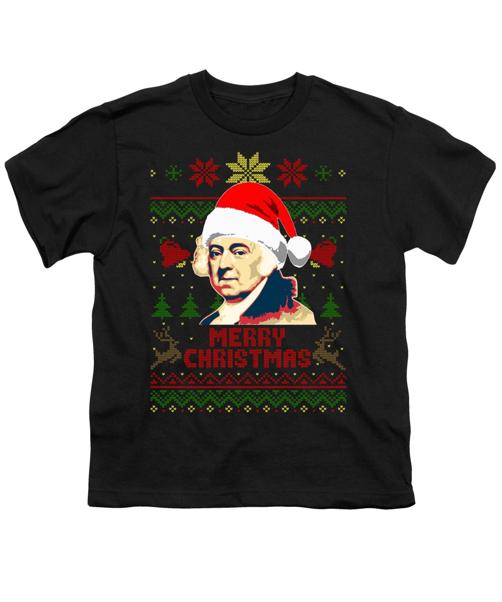 Santa Youth T-Shirt featuring the digital art John Adams Merry Christmas by Filip Hellman