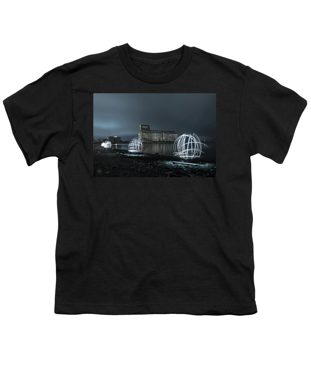Galagher Pier Youth T-Shirt featuring the photograph Lights in the Night by Dave Niedbala