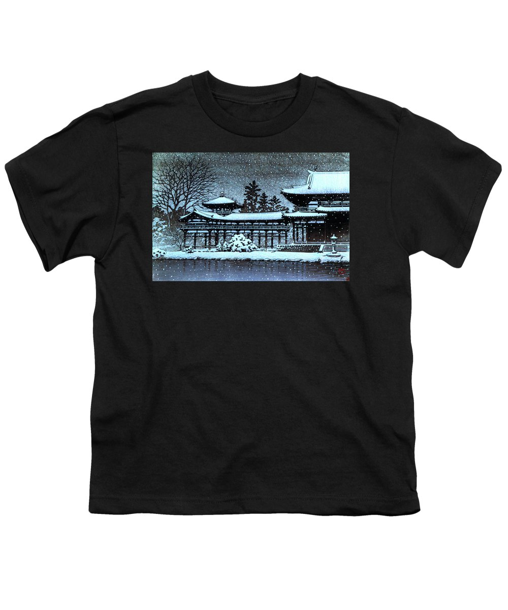 Kawase Hasui Youth T-Shirt featuring the painting Night Snow In The Houodo - Digital Remastered Edition by Kawase Hasui