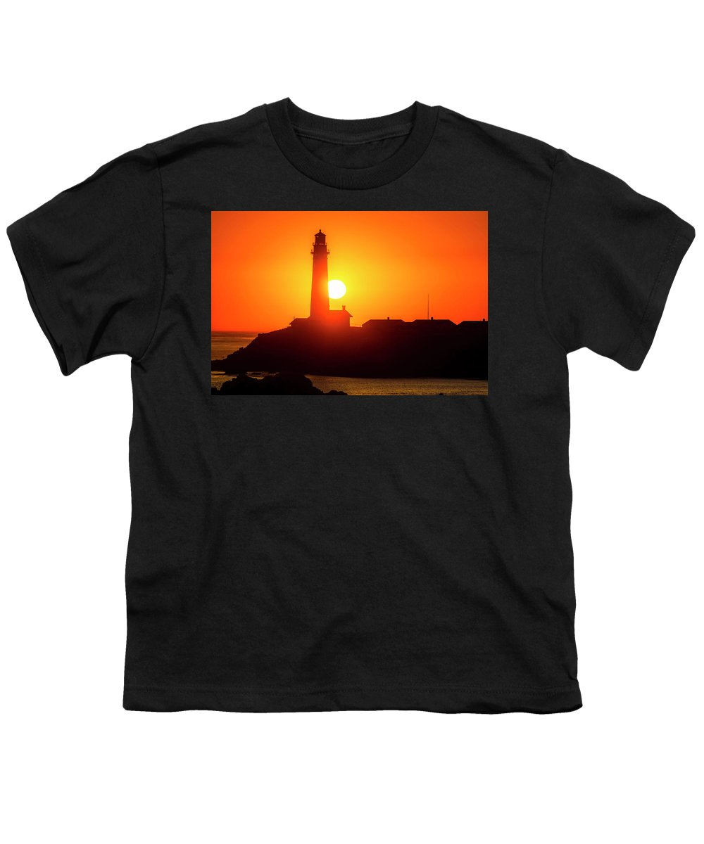 Pigeon Point Lighthouse Youth T-Shirt featuring the photograph Pigeon Point Setting Sun by Garry Gay