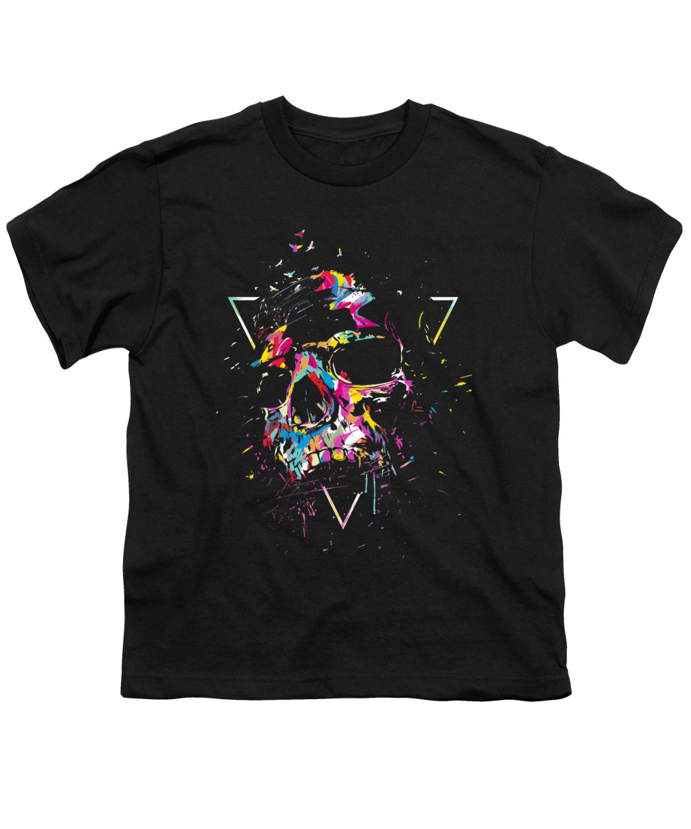 Skull Youth T-Shirt featuring the mixed media Skull X by Balazs Solti