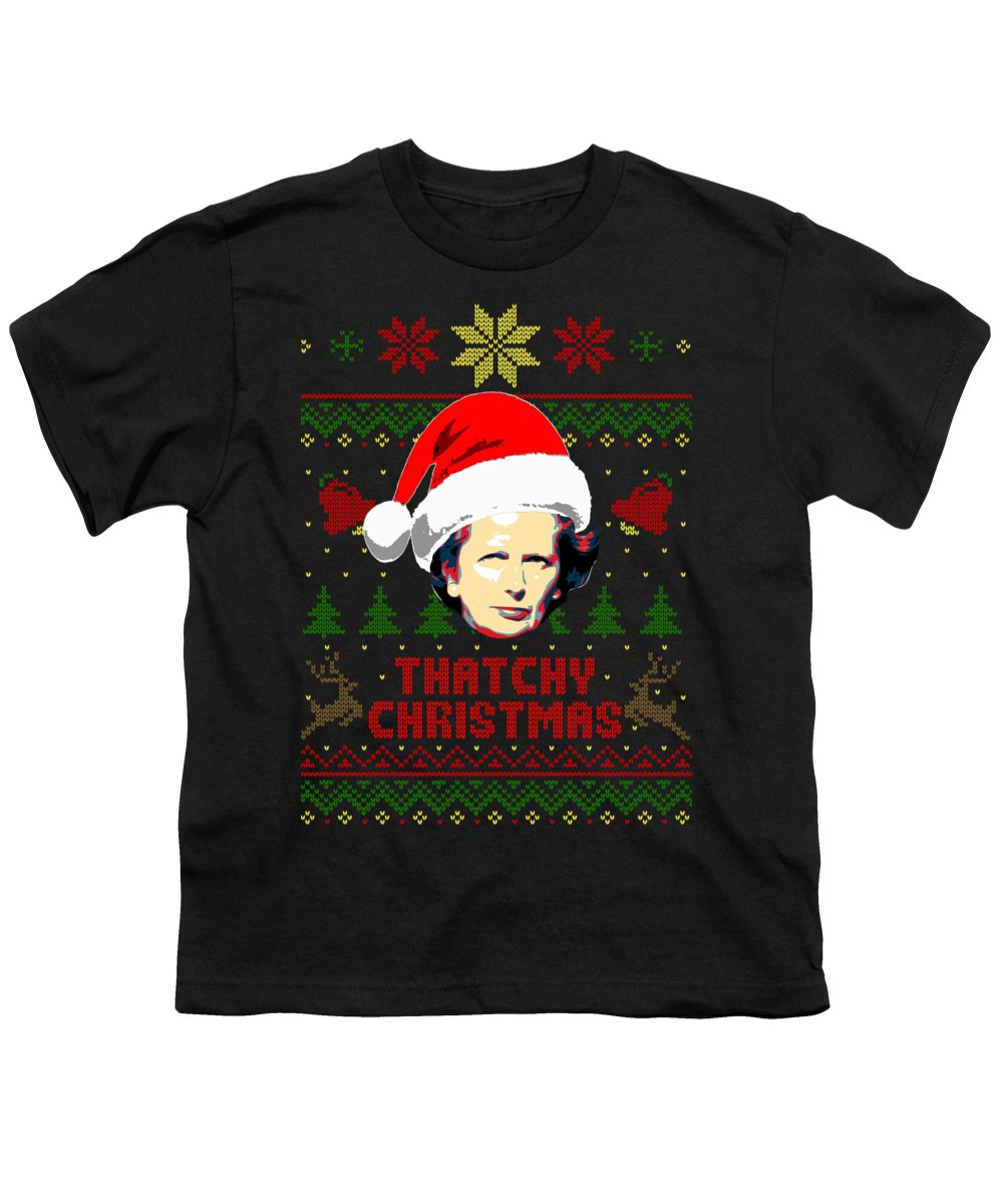 Santa Youth T-Shirt featuring the digital art Thatchy Christmas Margaret Thatcher Christmas by Filip Hellman