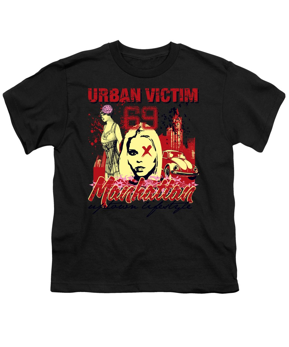 Woman Youth T-Shirt featuring the digital art Urban Victim Manhattan by Passion Loft