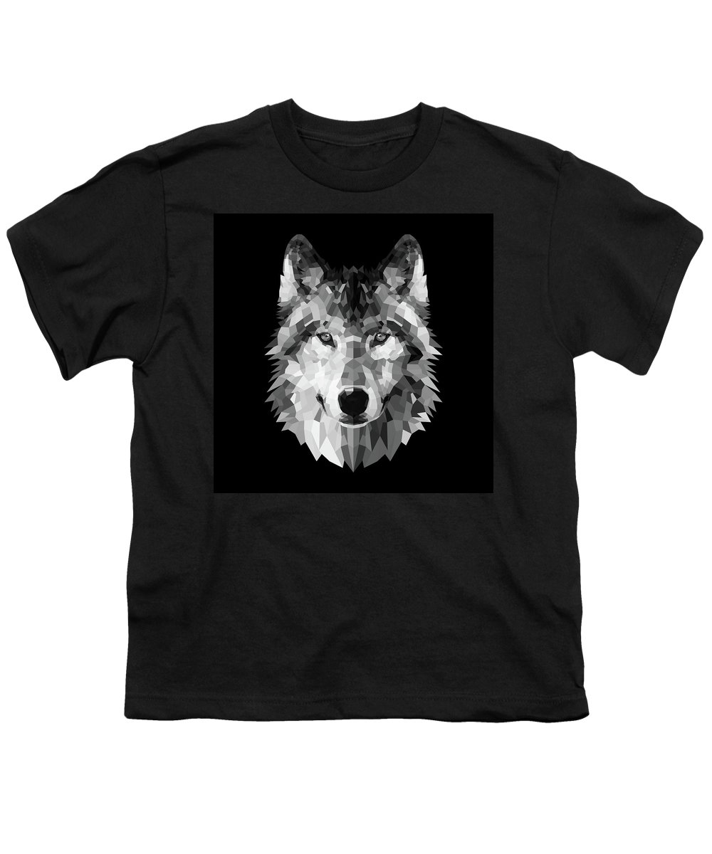 Wolf Youth T-Shirt featuring the digital art Wolf's Face by Naxart Studio