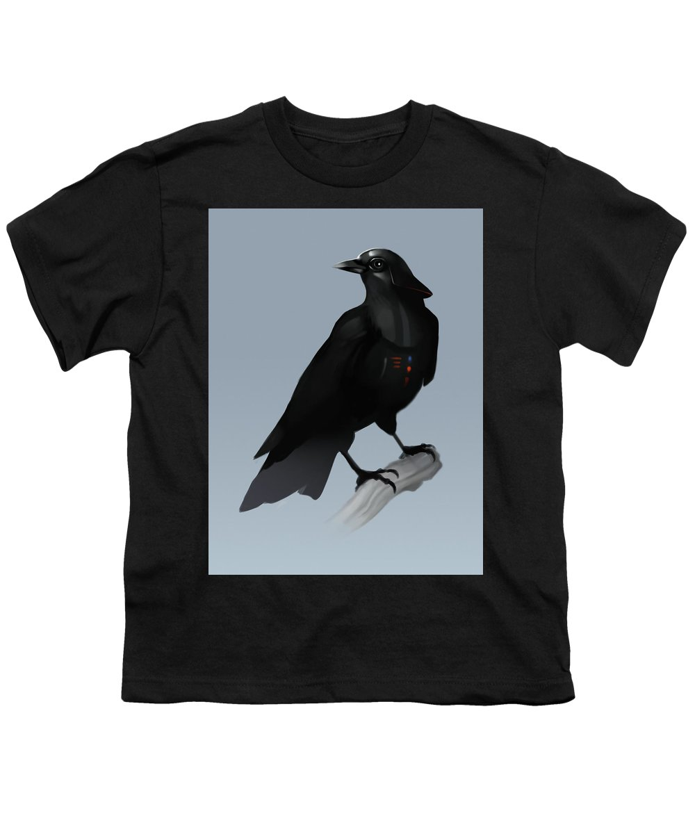 Birds Youth T-Shirt featuring the digital art Crow Vader by Michael Myers