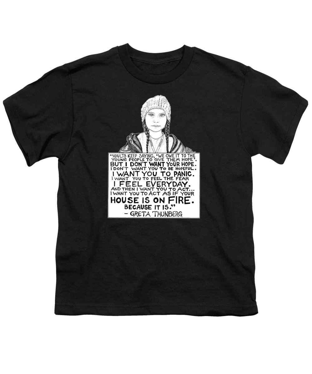 Pen And Ink Youth T-Shirt featuring the drawing Greta Thunberg Drawing by Rick Frausto