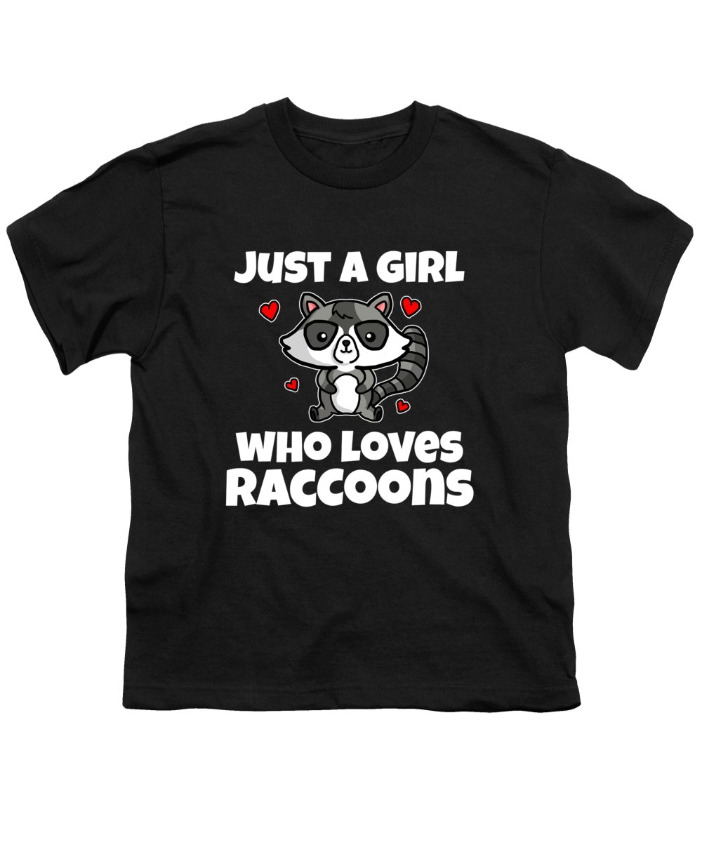 Raccoon Youth T-Shirt featuring the digital art Just A Girl Who Loves Raccoons Fun Raccoon Costume by J M