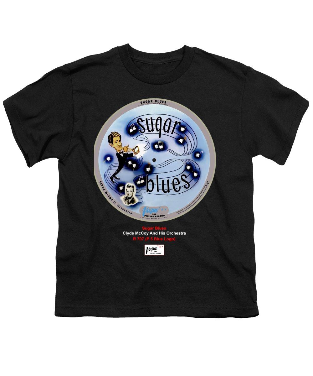 Vogue Picture Record Youth T-Shirt featuring the digital art Vogue Record Art - R 707 - P 7, Blue Logo by John Robert Beck
