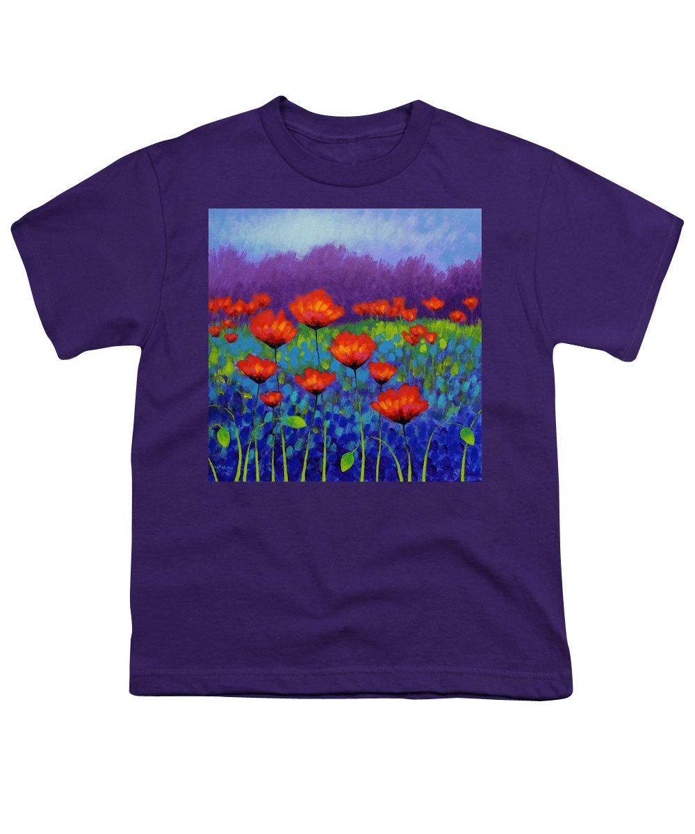Acrylic Youth T-Shirt featuring the painting Poppy Meadow 4 by John Nolan