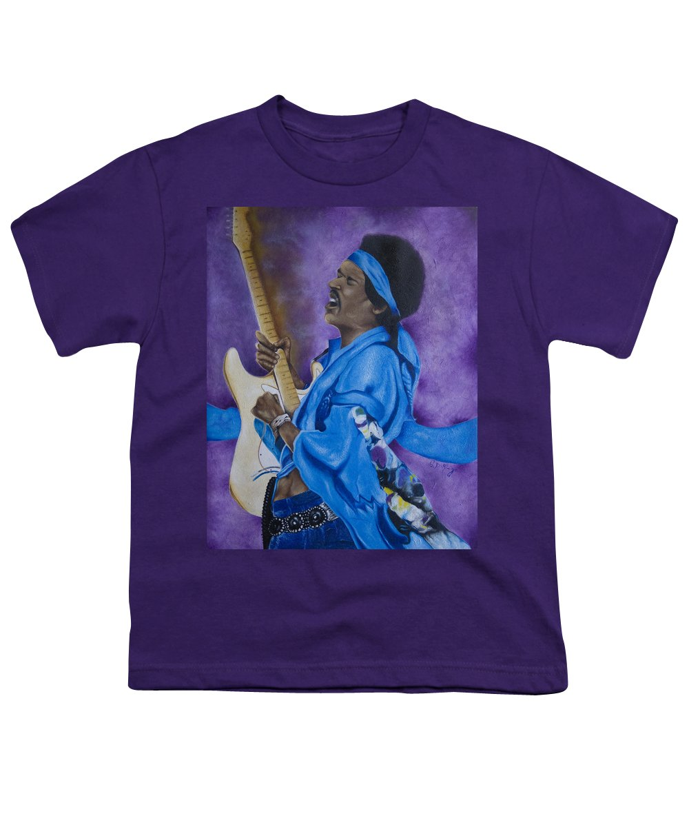 Portraiture Youth T-Shirt featuring the painting Purple Haze by Stephen J DiRienzo