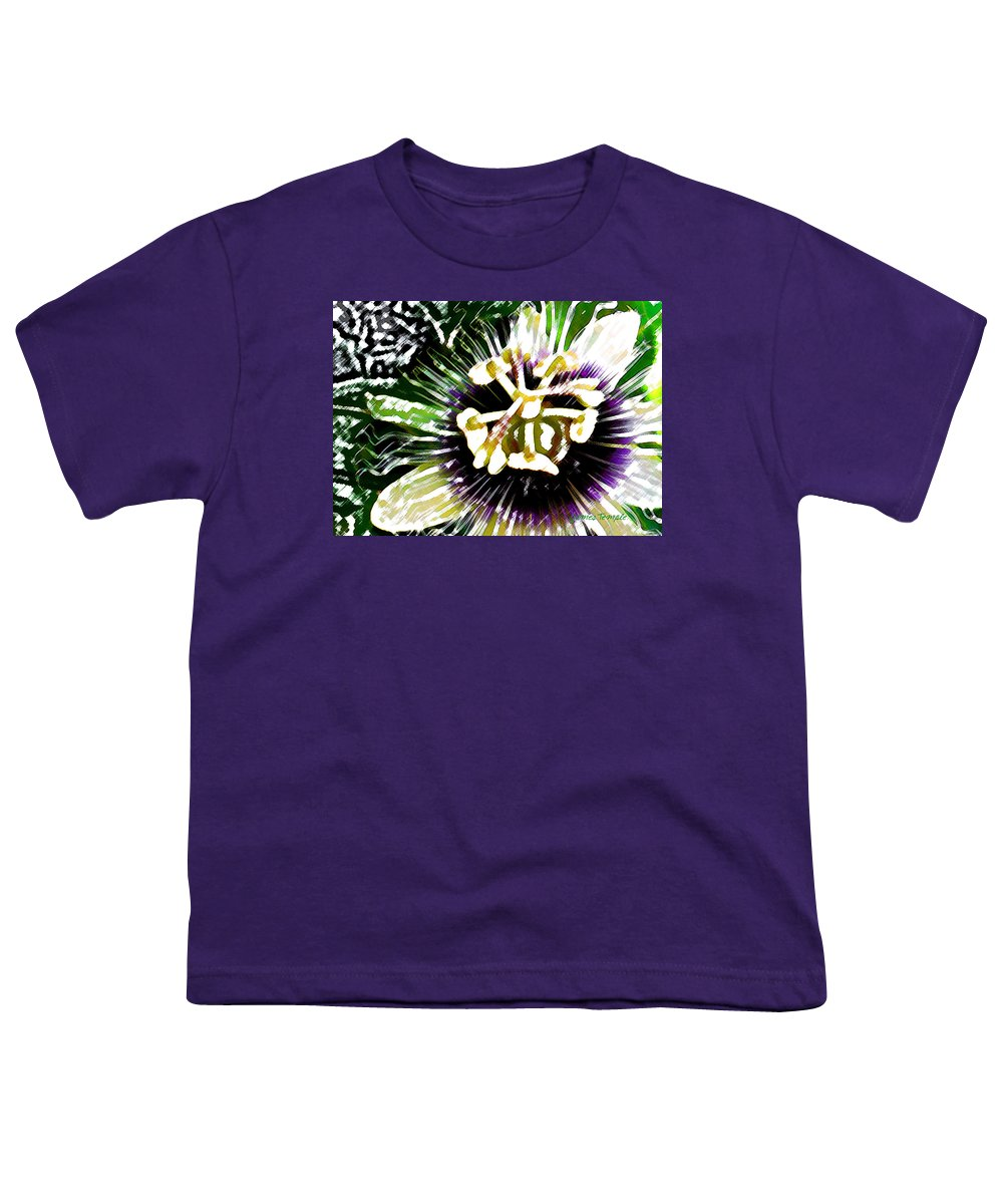 Passion Fruit Flower Youth T-Shirt featuring the digital art Passion Flower by James Temple