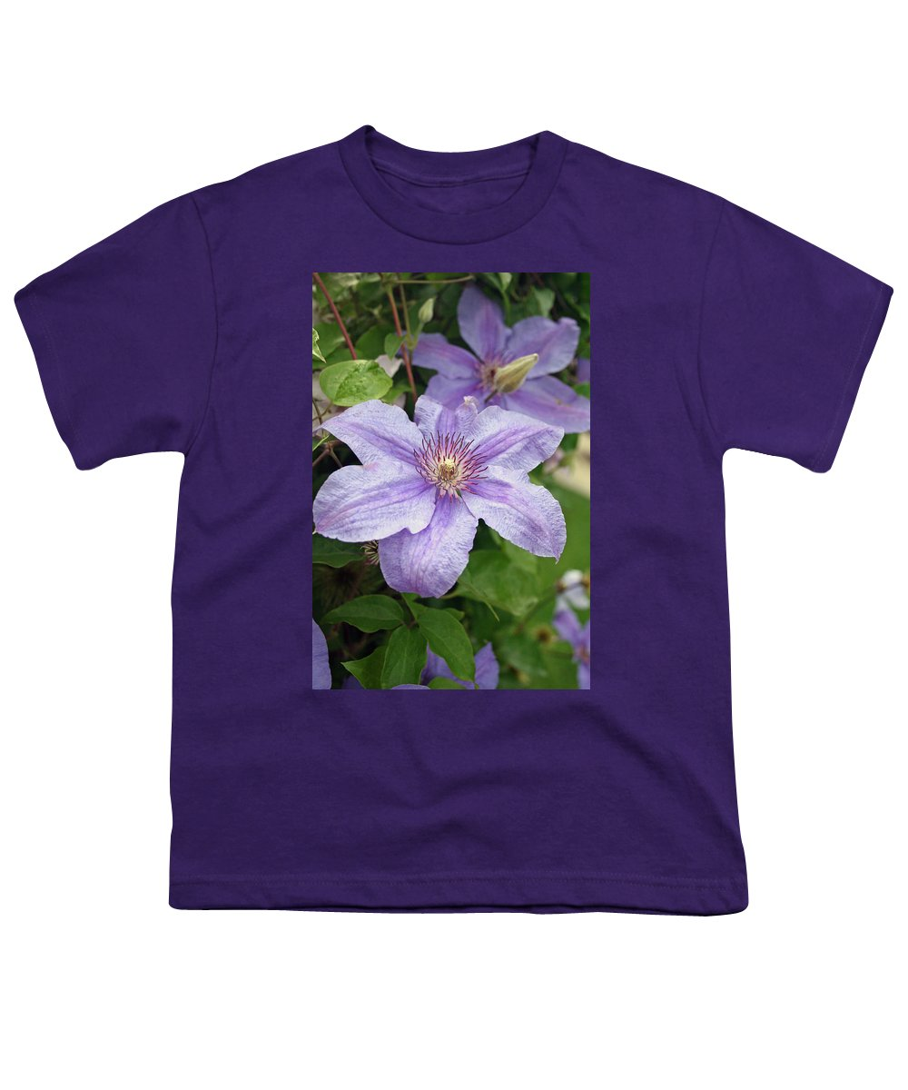 Clematis Youth T-Shirt featuring the photograph Blue Clematis by Margie Wildblood