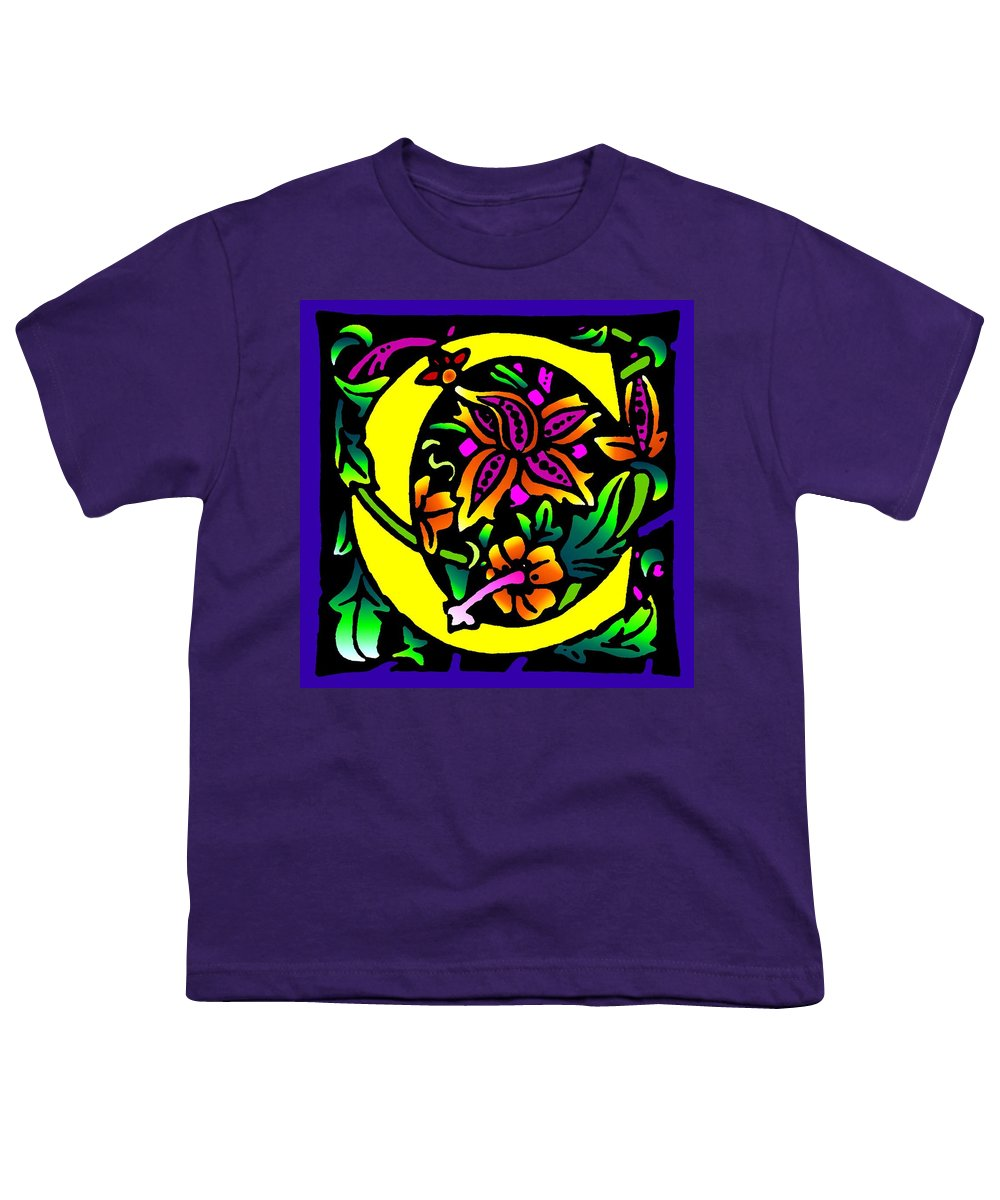 Alphabet Youth T-Shirt featuring the digital art C In Yellow by Kathleen Sepulveda