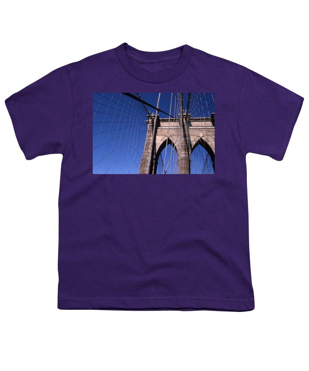 Landscape Brooklyn Bridge New York City Youth T-Shirt featuring the photograph Cnrg0406 by Henry Butz