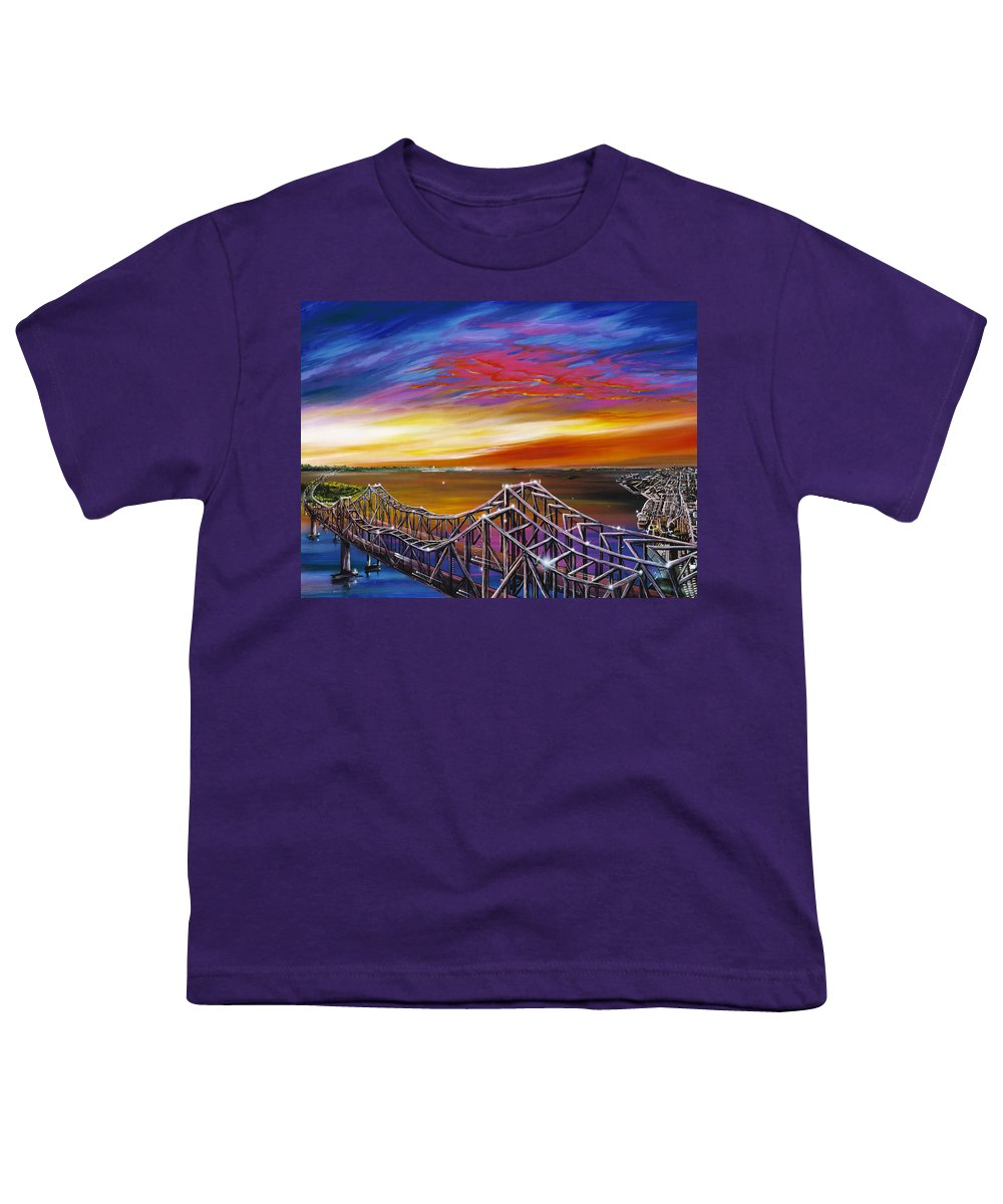 Clouds Youth T-Shirt featuring the painting Cooper River Bridge by James Christopher Hill