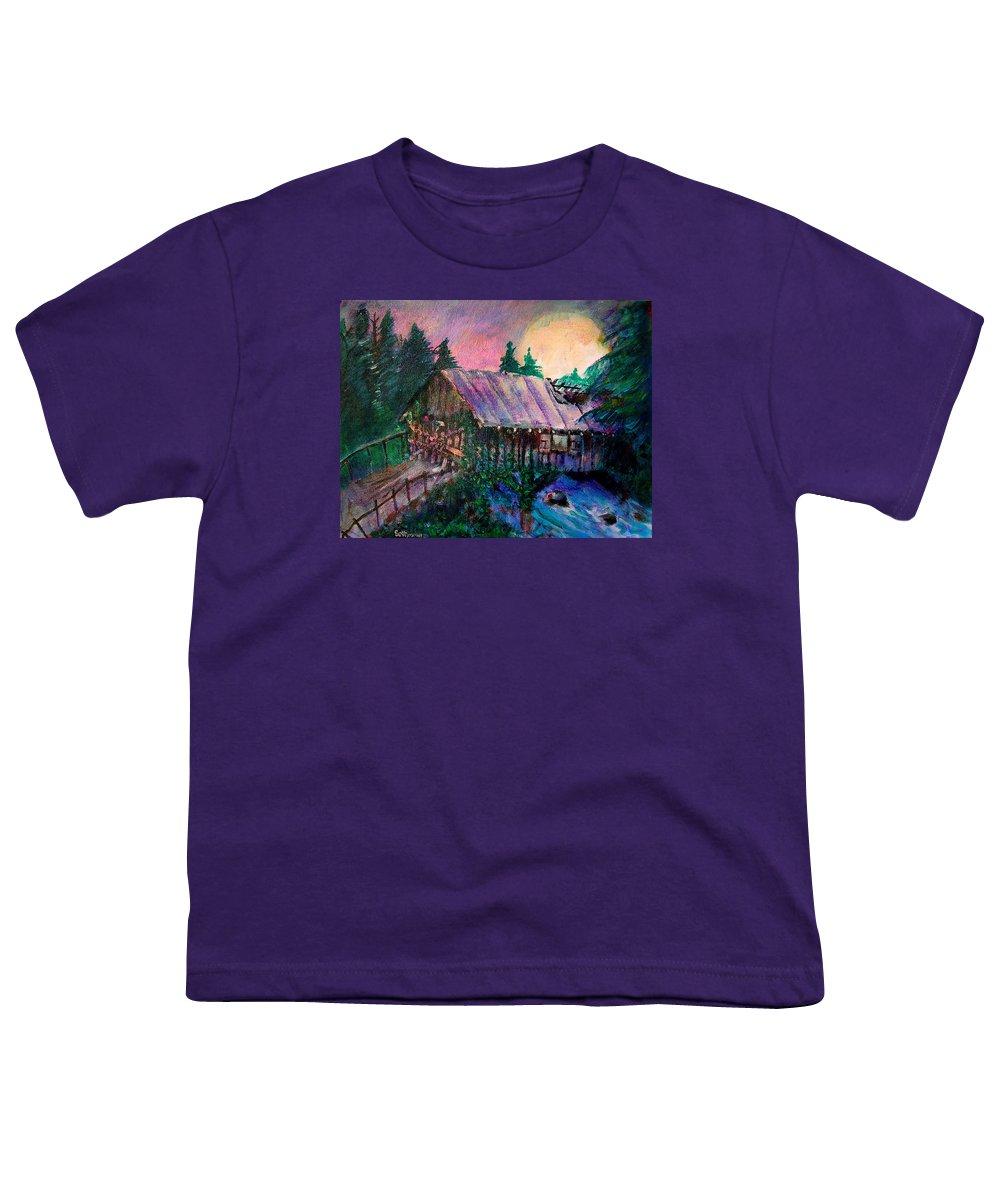 Dangerous Bridge Youth T-Shirt featuring the painting Dangerous Bridge by Seth Weaver