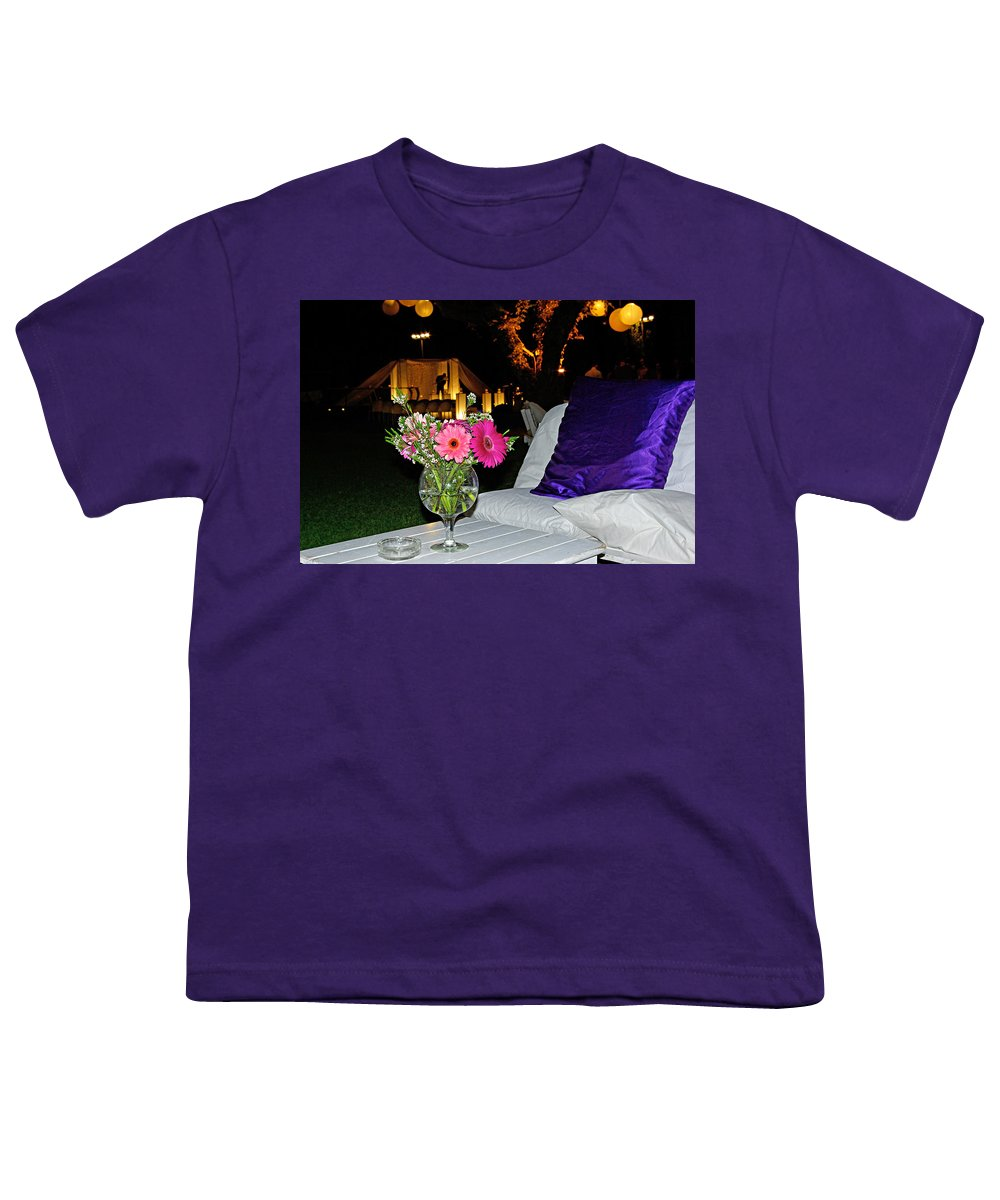 Flowers Youth T-Shirt featuring the photograph Flowers In A Vase On A White Table by Zal Latzkovich