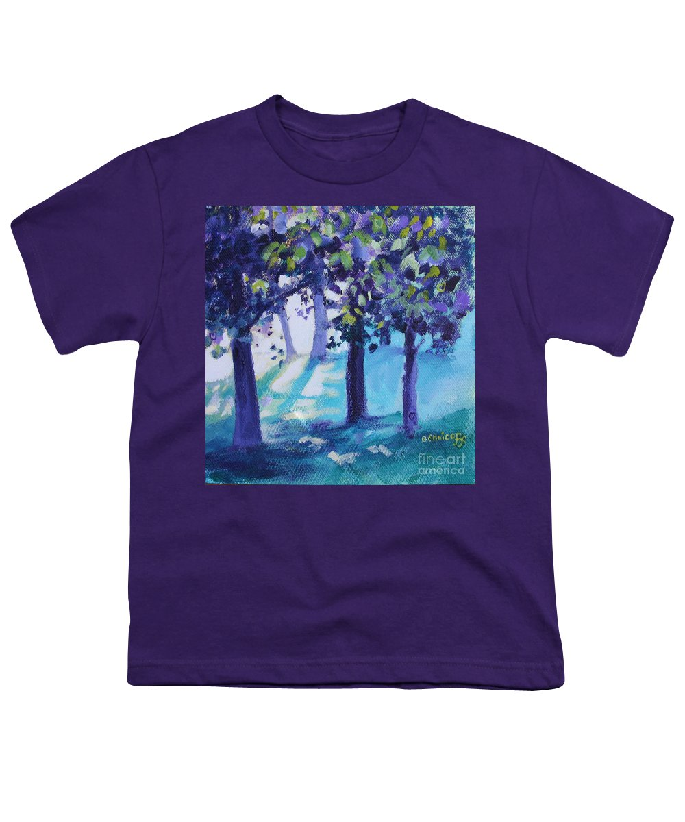 Expressionist Youth T-Shirt featuring the painting Heart Of The Forest by Jan Bennicoff