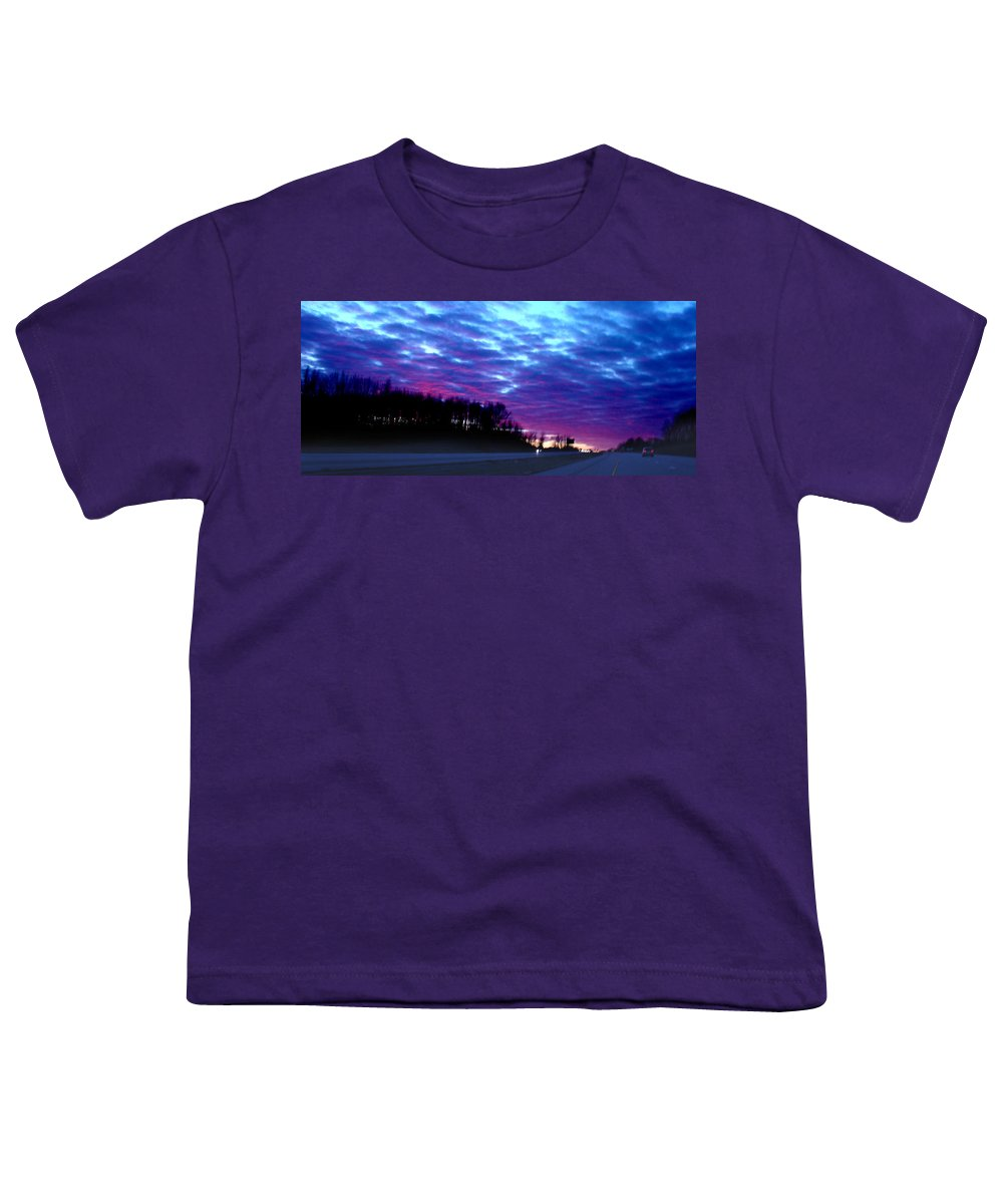 Landscape Youth T-Shirt featuring the photograph I70 West Ohio by Steve Karol
