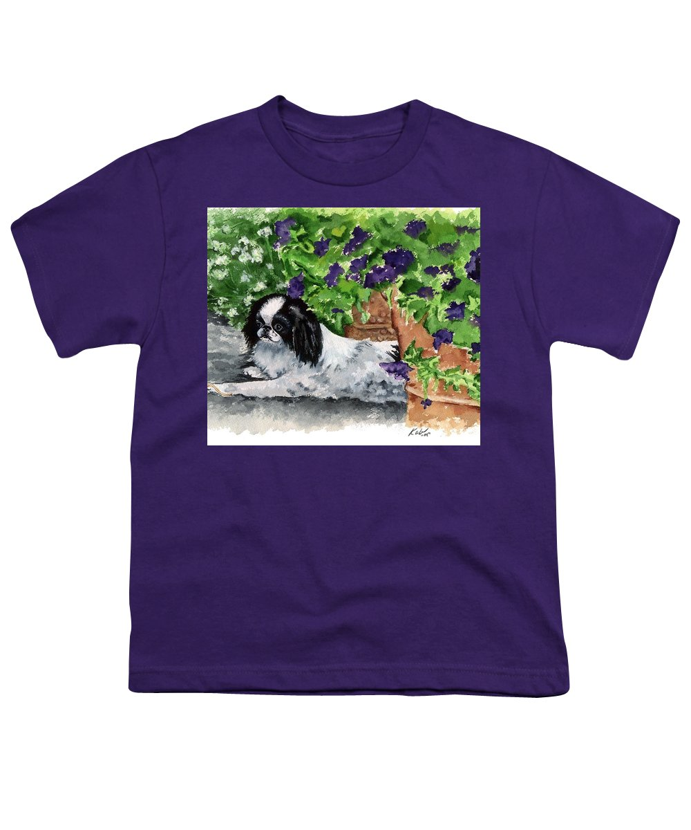 Japanese Chin Youth T-Shirt featuring the painting Japanese Chin Puppy And Petunias by Kathleen Sepulveda