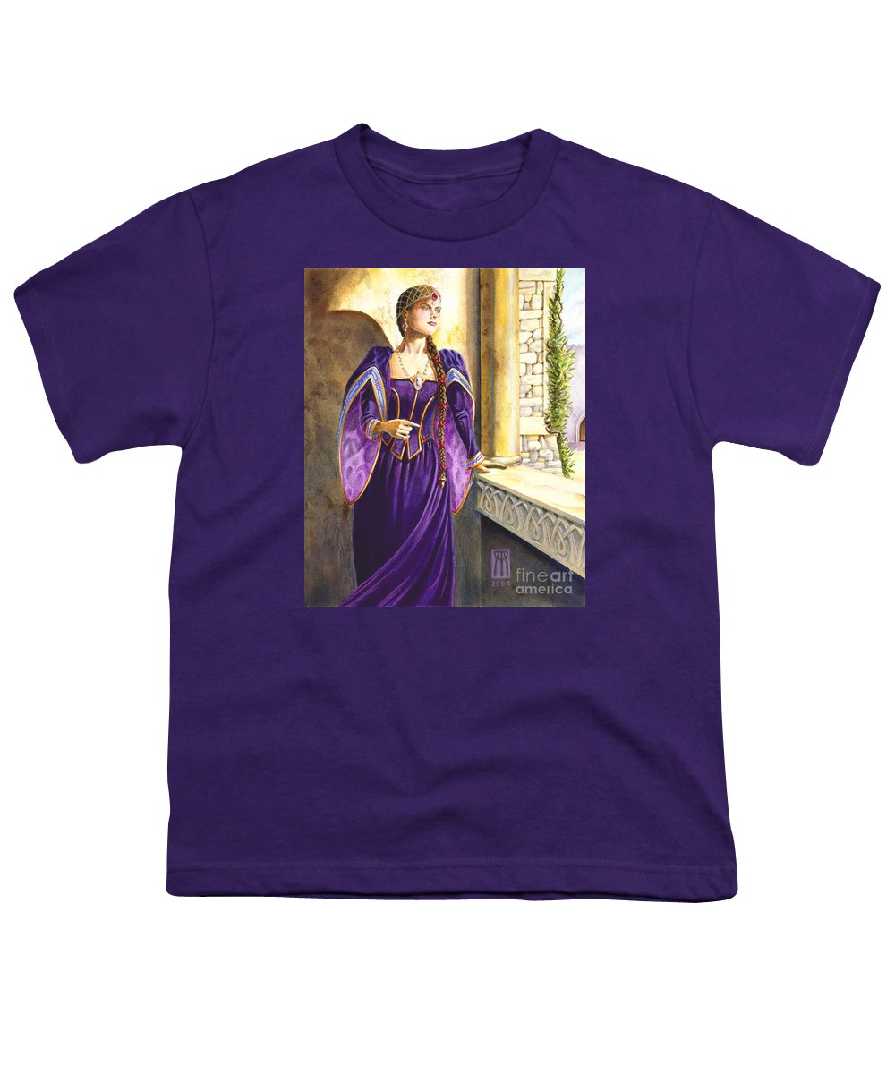 Camelot Youth T-Shirt featuring the painting Lady Ettard by Melissa A Benson