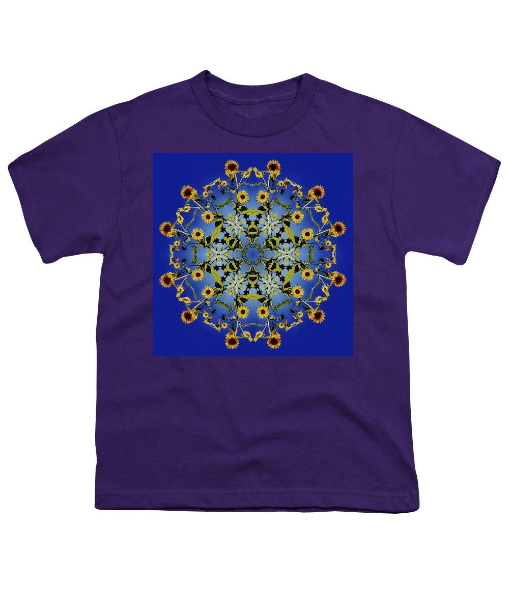 Mandala Youth T-Shirt featuring the digital art Mandala Sunflower by Nancy Griswold
