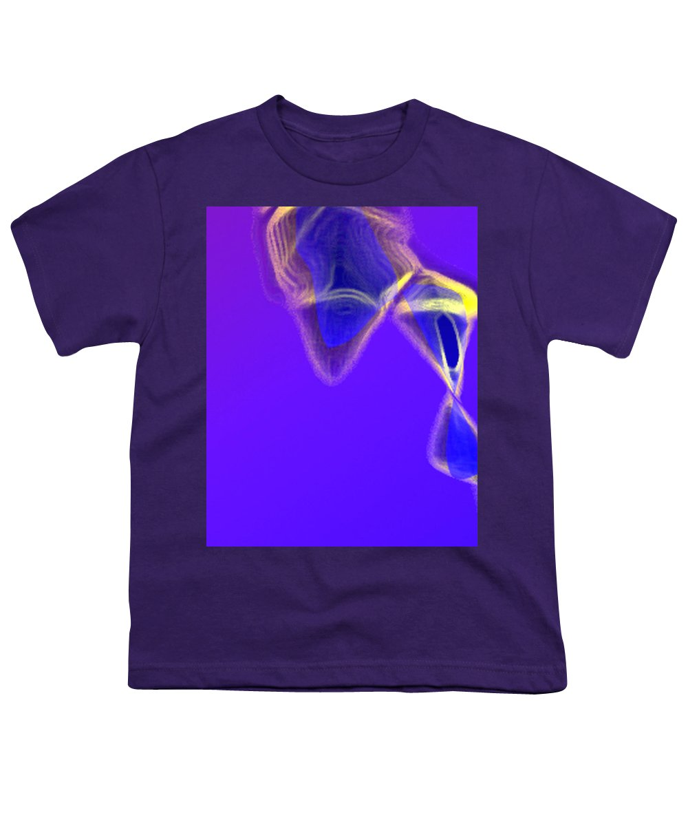 Abstract Youth T-Shirt featuring the digital art Panel One From Movement In Blue by Steve Karol