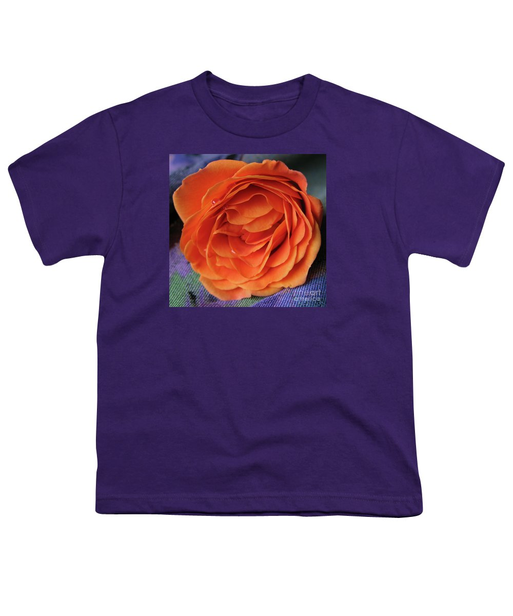 Rose Youth T-Shirt featuring the photograph Really Orange Rose by Ann Horn