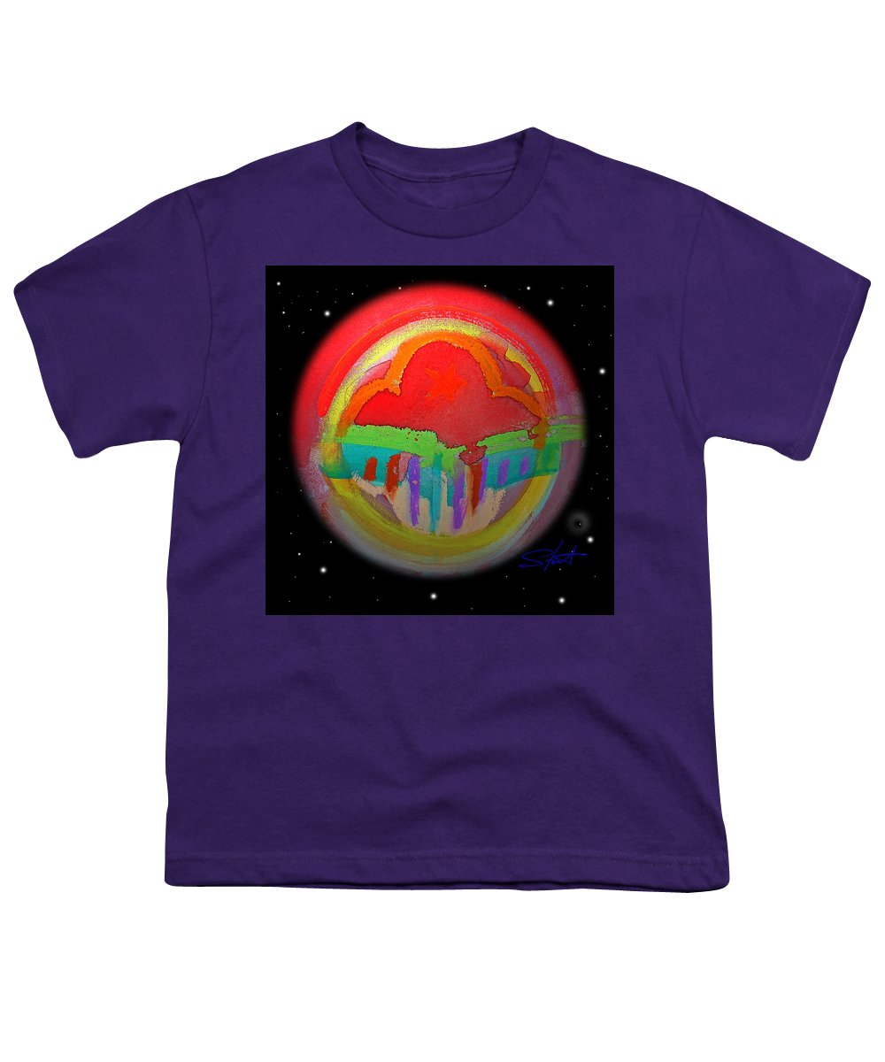 Landscape Youth T-Shirt featuring the painting Red Planet by Charles Stuart