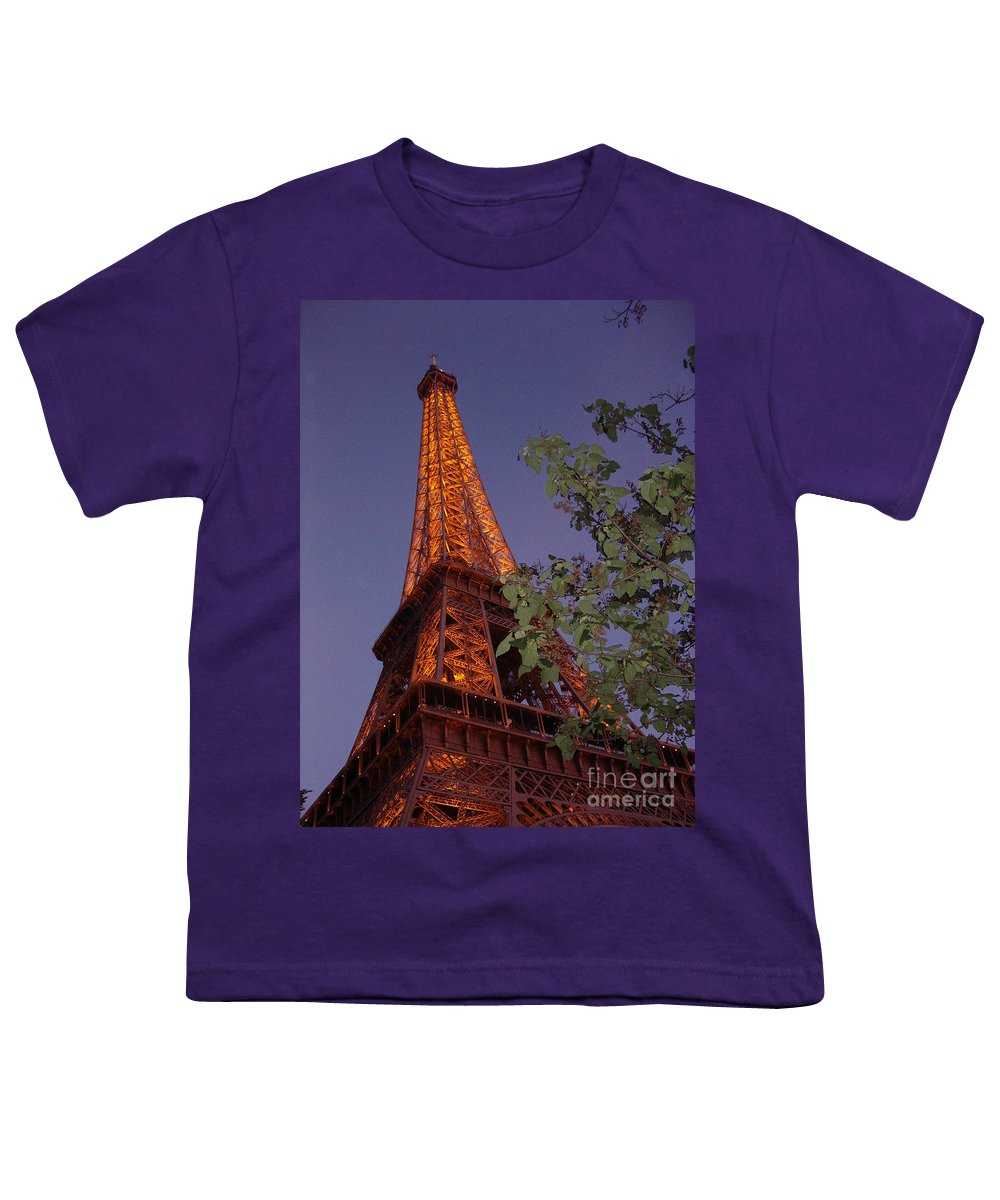 Tower Youth T-Shirt featuring the photograph The Eiffel Tower Aglow by Nadine Rippelmeyer
