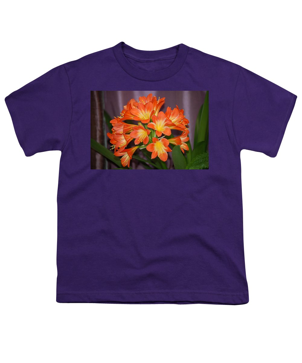 Flowers Youth T-Shirt featuring the photograph Clivia Blossoms by Nancy Ayanna Wyatt