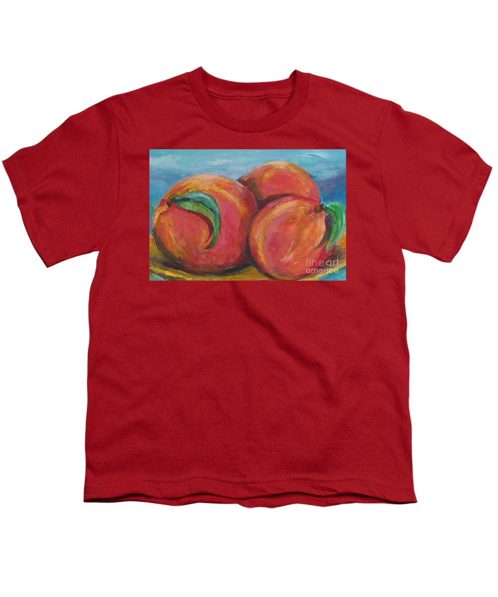 Impressionism Youth T-Shirt featuring the painting Peaches by Eric Schiabor