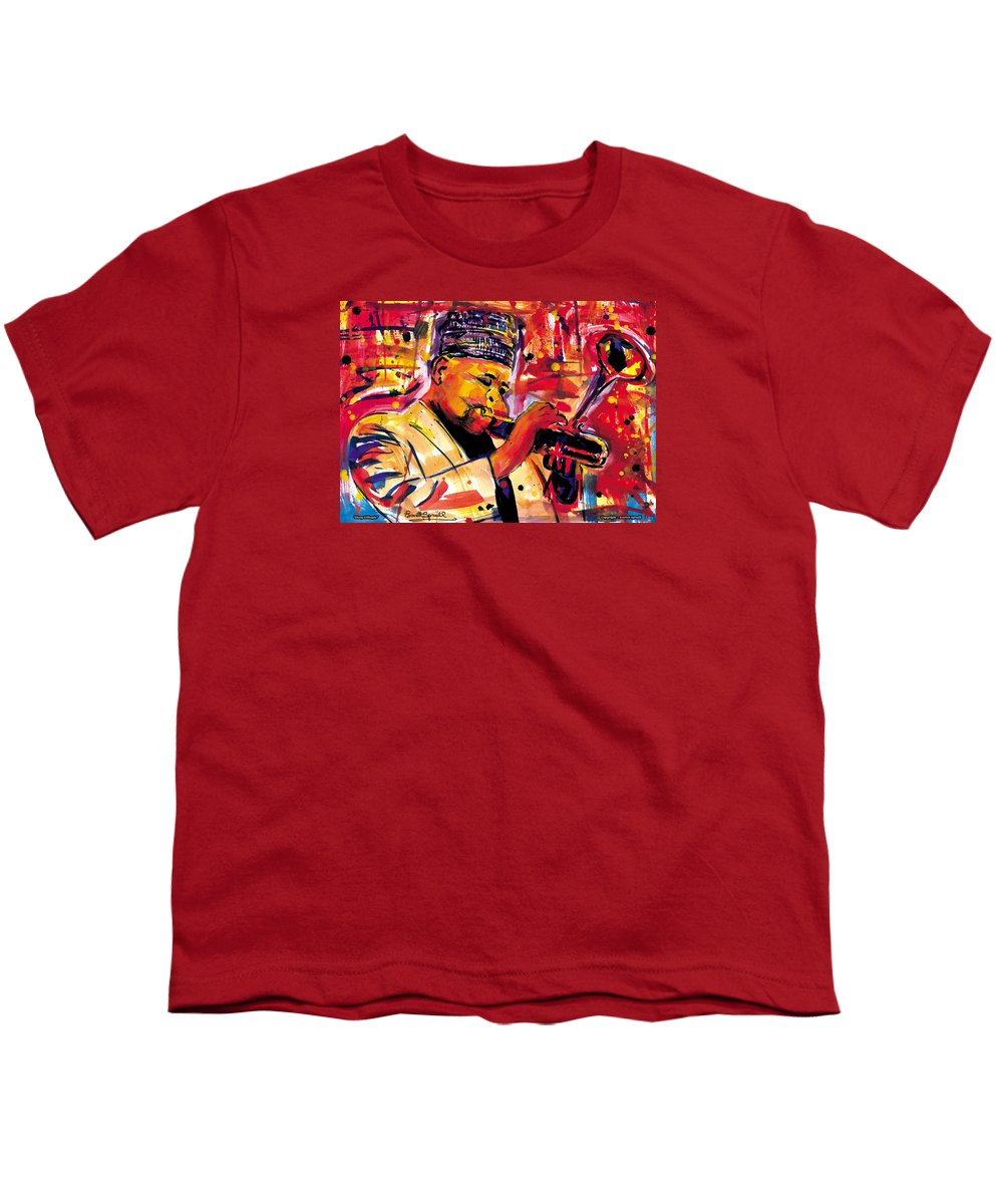 Dizzy Gillespie Youth T-Shirt featuring the painting Dizzy Gillespie by Everett Spruill