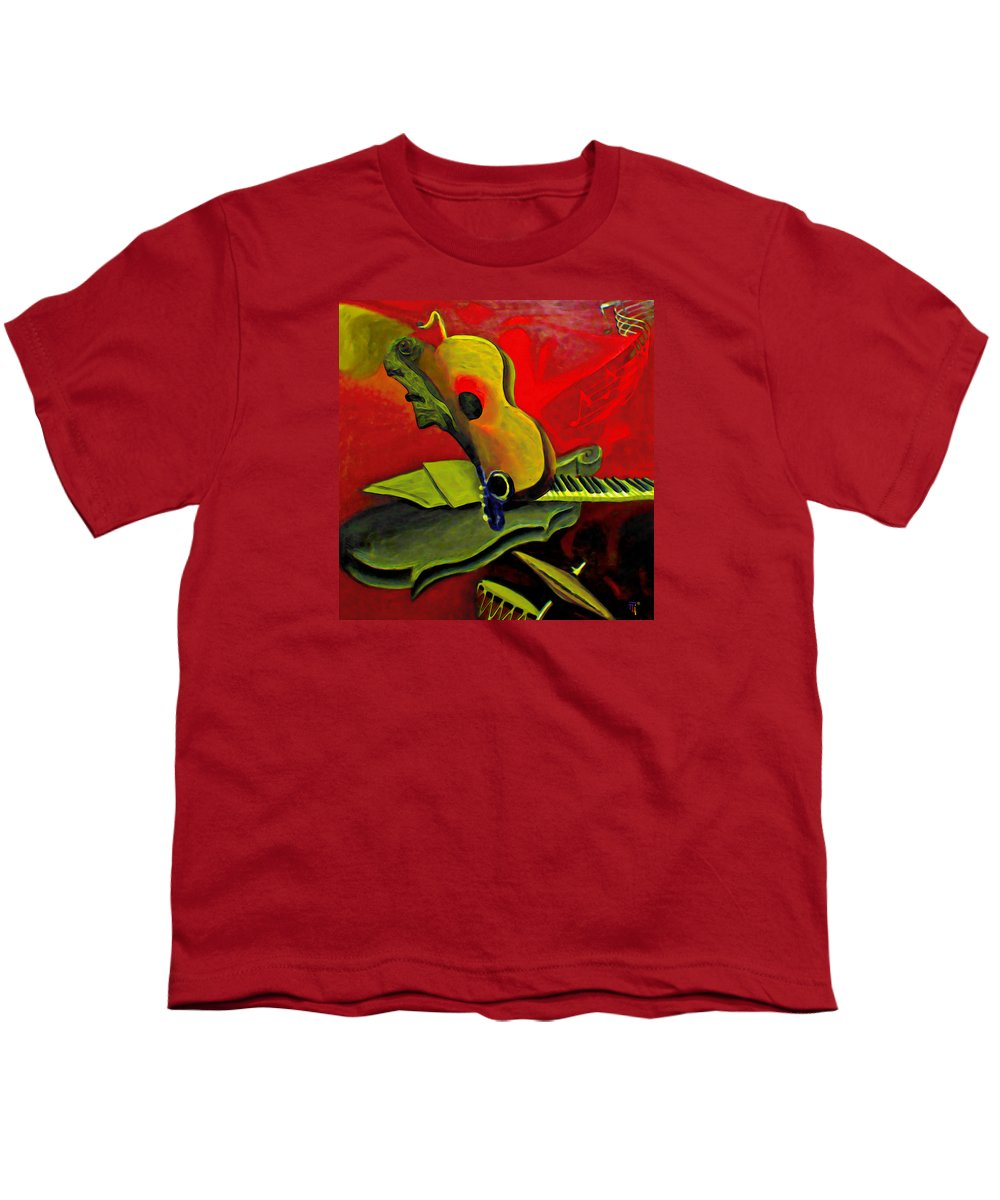 Abstract Youth T-Shirt featuring the painting Jazz Infusion by Fli Art