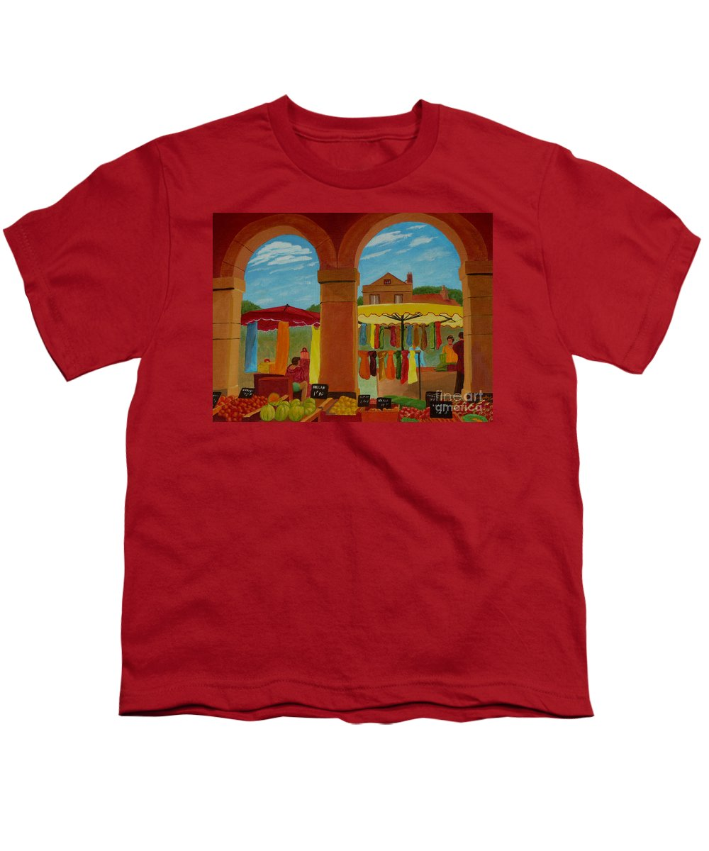 Landscape Youth T-Shirt featuring the painting Market Day by Anthony Dunphy