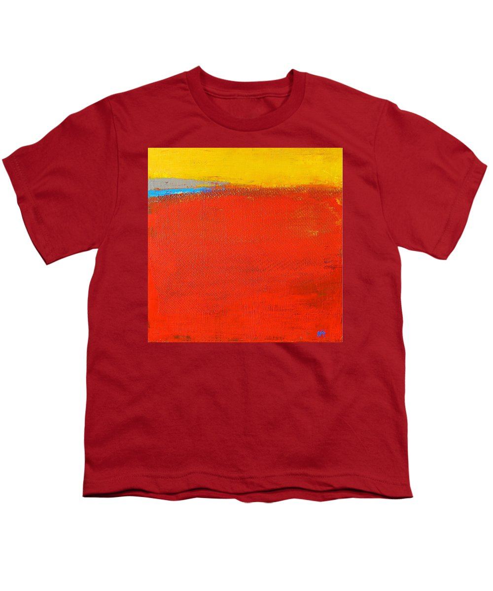 Landscape Youth T-Shirt featuring the painting Nature Rouge by Habib Ayat
