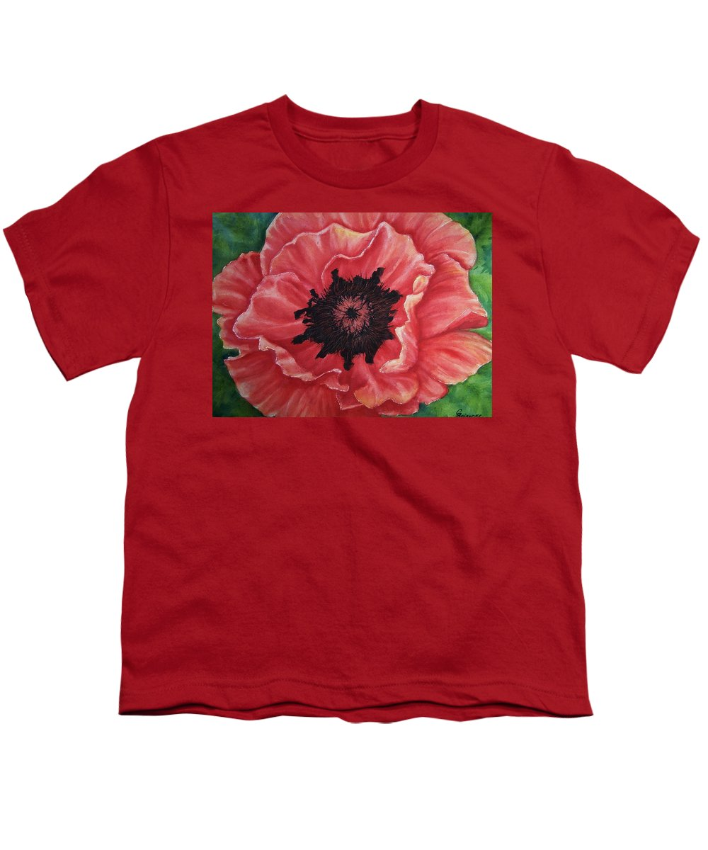 Poppy Youth T-Shirt featuring the painting Poppy by Conni Reinecke