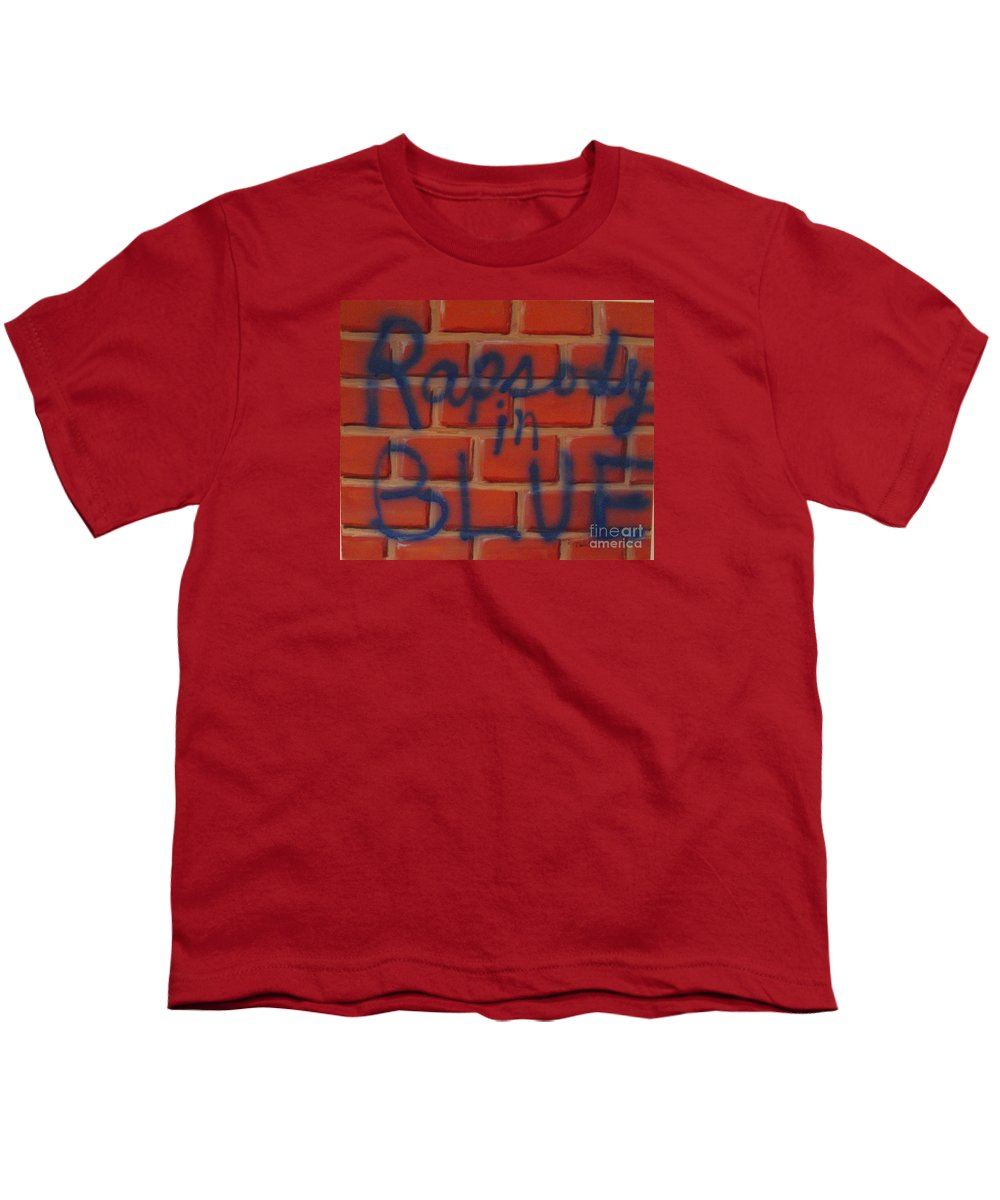 Abstract Youth T-Shirt featuring the painting Rapsody In Blue by Laurie Morgan