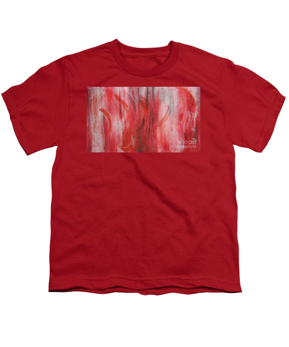 Modern Art Youth T-Shirt featuring the painting Red Sea by Silvana Abel