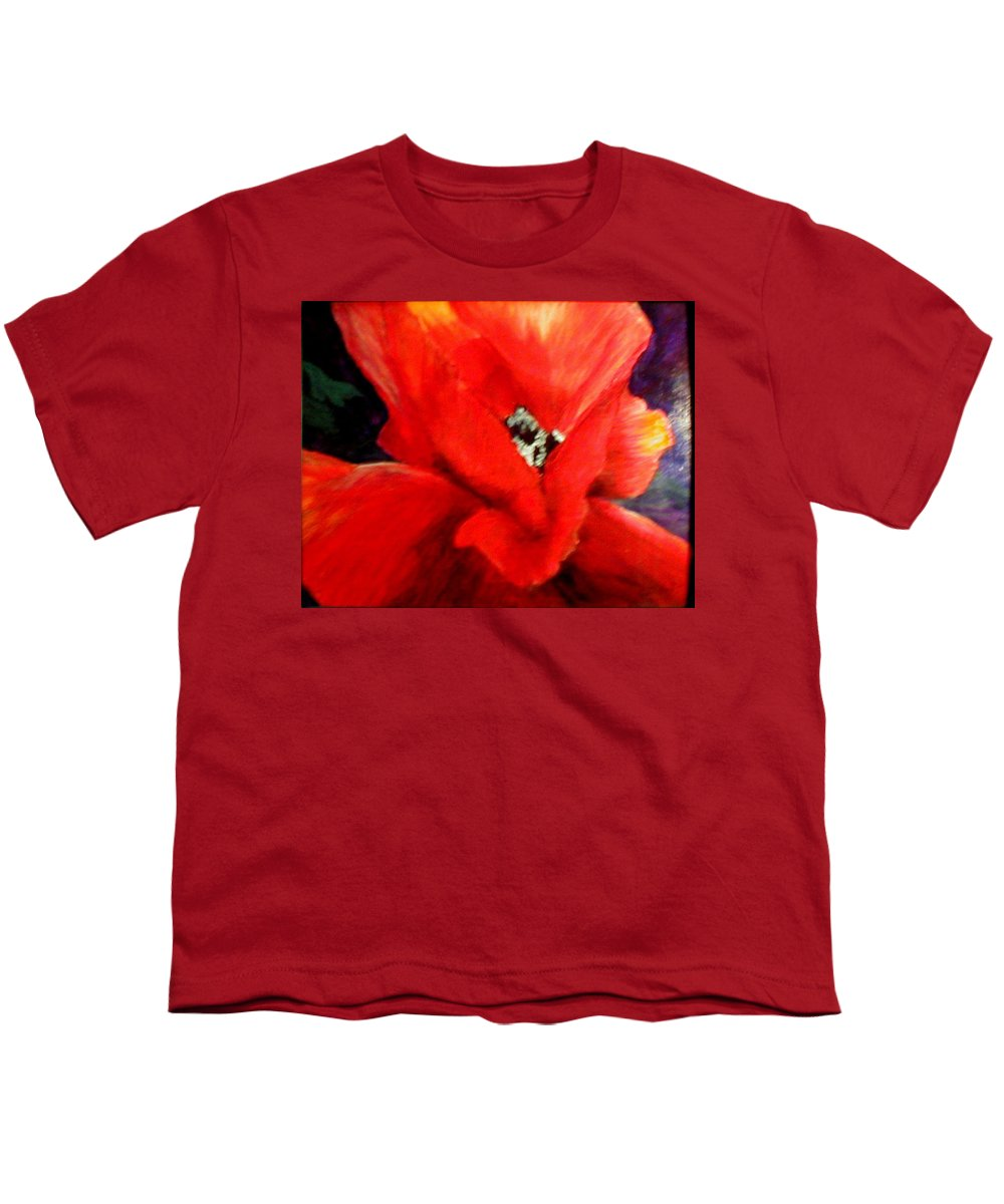 Floral Youth T-Shirt featuring the painting She Wore Red Ruffles by Gail Kirtz